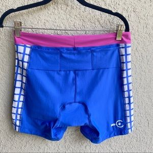 Coeur pink, blue & white frames cycling shorts